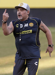 Argentinian soccer legend Diego Armando Maradona conducts his first training session as coach of Dorados at the Banorte stadium in Culiacan