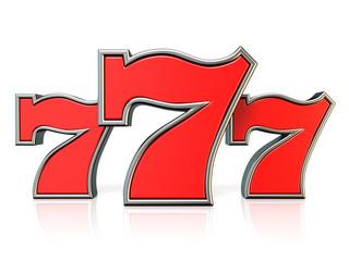 Red 777 lucky jackpot symbol 3D