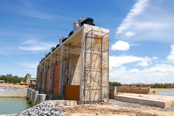 Construction site of dam.