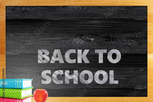back to school words on wooden blackboard with frame for school