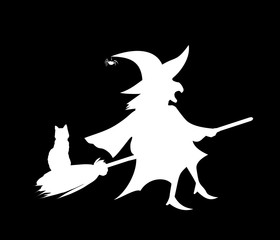 White silhouette of witch flying on broom with cat isolated on black background.
