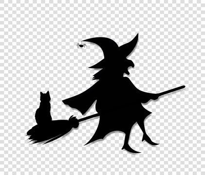Black silhouette of witch flying on broom with cat isolated on transparent background.