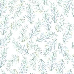 Watercolor seamless pattern with fern  foliage. Minimalistic sca