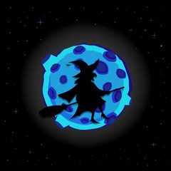 Black silhouette of witch on broom with cat flying on night sky background with full blue moon