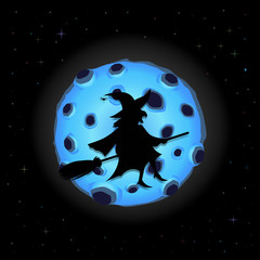 Black silhouette of witch on broomstick with cat flying on night sky background with full blue moon