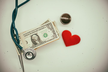 Money from the doctor concepts of rising medical cost