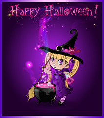Happy halloween card with little witch girl with broom and cauldron on purple background