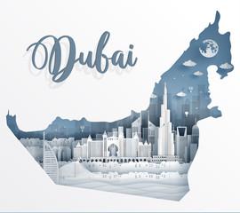 Fototapete - 22.8.2018 Dubai map day
