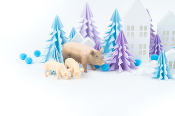 Christmas tree blue pig paper white background