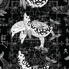 Seamless pattern with three dolphins and sacred geometry. Esoteric, occult and mysterious concept with sacred geometry elements, graphic vector illustration