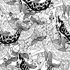 Seamless pattern with black and white decorated dolphins. Esoteric, occult and mysterious concept with sacred geometry elements, graphic vector illustration
