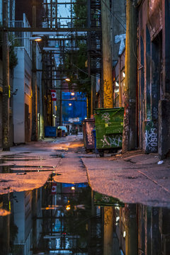 Empty back alley. Vancouver, British Columbia. Canada.