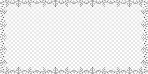 Halloween rectangle spider web border on transparent background