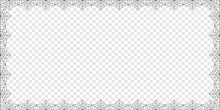 Halloween rectangle spider web border on transparent background