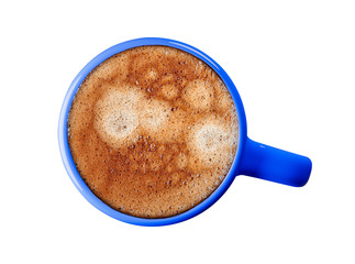 Espresso coffee, in a blue cup. Isolate on white background, picture, photo.