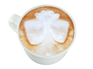 Latte, an image of a butterfly on coffee, in a white cup. Isolate on white background, image, photo, drink.