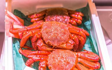 Fresh Alaskan King Crab sell at the Tsukiji Fish Market in Japan