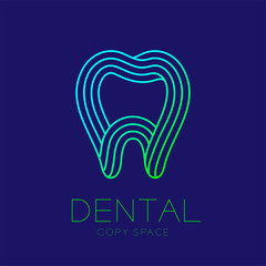 Dental clinic logo icon tooth outline stroke design illustration isolated on dark blue background with dental text and copy space