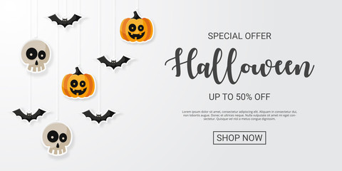 Happy Halloween Sale Background with flat icon. Vector illustration