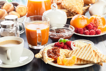 Fresh and continental breakfast table