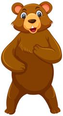 Standing cute brown bear