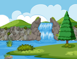 Waterfall river wood scene