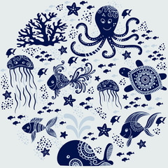Cartoon sea animals background. Cute underwater creatures: whale, octopus, jellyfish, starfish and turtles. Perfect for greeting cards, prints and children designs. Vector nautical design.