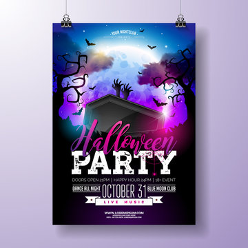 Halloween Party flyer vector illustration with black coffin and zombie hands on mysterious moon background. Holiday design template with spiders, cemetery and flying bats for party invitation