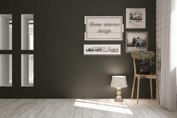 Mock up of empty room with chair. Scandinavian interior design. 3D illustration