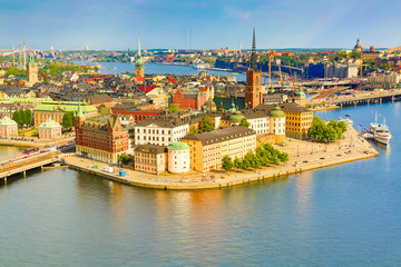 Gamla Stan, the old part of Stockholm in a sunny summer day, Sweden. Aerial view from Stockholm City hall Stadshuset.