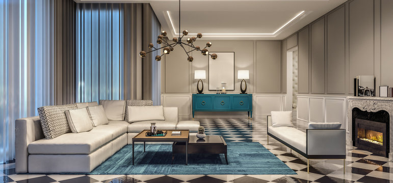 modern interior design living room with blue accents and black and white tiles