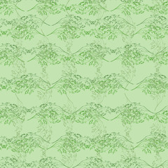 Watercolor floral seamless background, texture of leaves, grasses, plants. Juniper, moss,wild grass, green plants,dry flower, algae. Natural wood pattern. Beautiful pattern for your design.