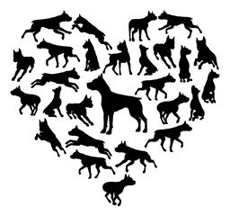 A Staffordshire Staffy Terrier, Pit Bull or similar dog heart silhouette concept for someone who loves their pet