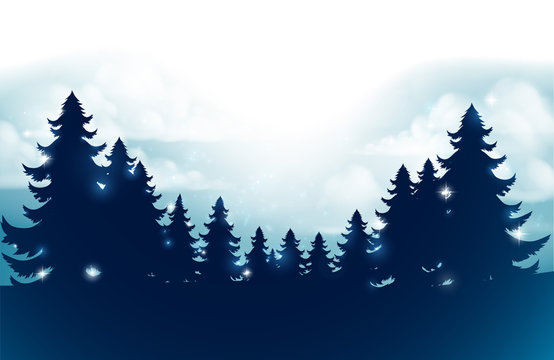 Silhouette Christmas evergreen trees against a winter sky scene footer background