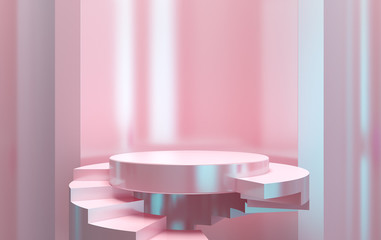 Scene with geometrical forms, round and square platform, minimal background, 3D rendering