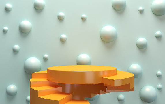 Scene with geometrical forms, round and square platform, minimal background, paper in the form, 3D rendering