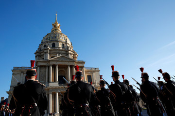 French Republican Guards attend a ceremony before the arrival of Japan's Crown Prince Naruhito at the Hotel des Invalides in Paris