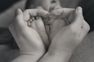 Newborn Baby's feet. Mother and father holding newborn baby legs,legs massage