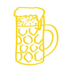 Handgezeichneter Bierkrug in gelb