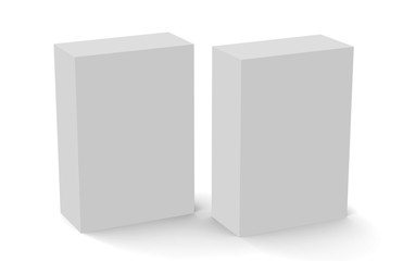 White Packaging Box, Mock Up Template On Isolated White Background, Ready For Your Design, 3D Illustration