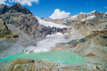 Alta Valmalenco (IT) - Vista aerea del ghiacciaio di Fellaria Orientale  - settembre 2018