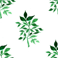 Watercolour pattern with green leaves. Colorful print with hand painted element. Abstract background.