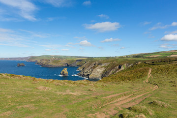 South west coast path North Cornwall scenic view towards Boscastle from Tintagel England uk