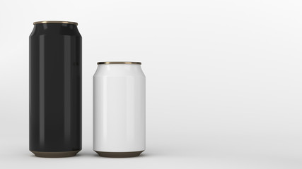 Big black and small white gold soda cans mockup