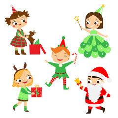 Christmas kids. Happy New year children in party costumes of Santa, Elf, deer and other