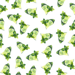 Watercolor pattern of lime and mint leaves on white background