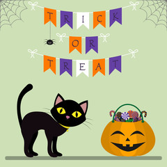 Happy Halloween. A black cat stands next to a pumpkin with sweets. Decoration of their flags, spider and cobwebs. Autumn holiday.