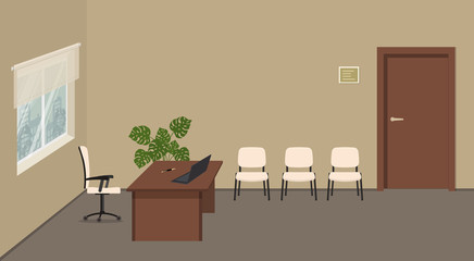 Beige office room. Office reception. Director's office. Secretary's workplace. There is a brown desk, white chairs for visitors, a window, a door and a flower in the picture. Vector illustration