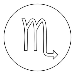 Scorpion symbol zodiac icon black color in round circle