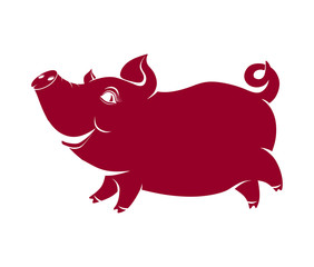 cheerful pig, comical silhouette of a well-fed animal, symbol of 2019